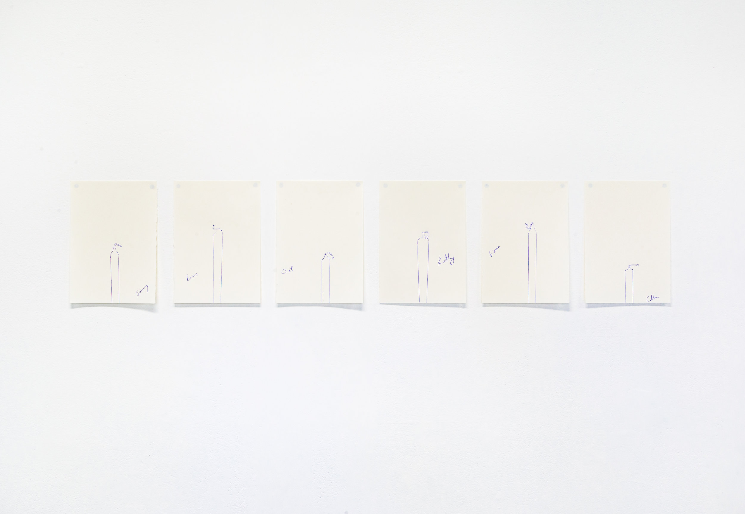 Figure in the Round (Candle)  (detail), Andrew Atchison, 2018, candle, six different individual's ideas of 'front', drawings, and mixed media installation, dimensions variable.