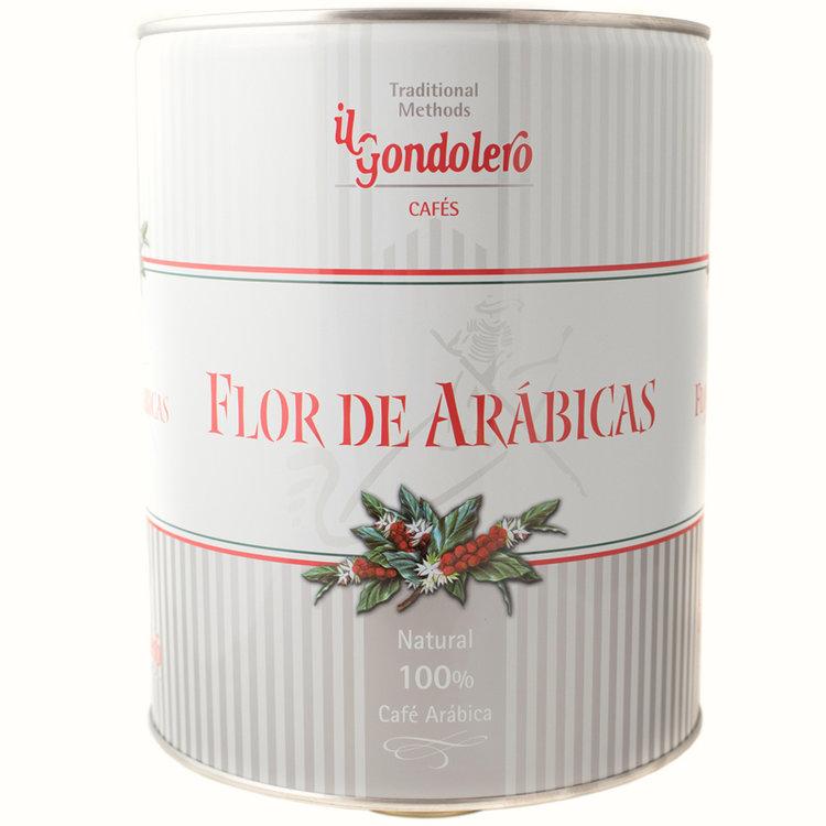 """Flor de Arábicas - Nuestro """"Flor de Arábicas""""es el resultado de una selección de """"Puros Orígenes"""" cosechados en las más exclusivas plantaciones del mundo que con sus características propias, justamente mezclados y tostados, configuran una delicia de sabor intenso, aroma fragante y cuerpo aterciopelado. Su exclusivo envase metálico, le permitirá conservar todas sus propiedades hasta el último grano.Envase 3Kg.Ingredientes : 100% café Arábica. Cafeína 1,2% aprox."""