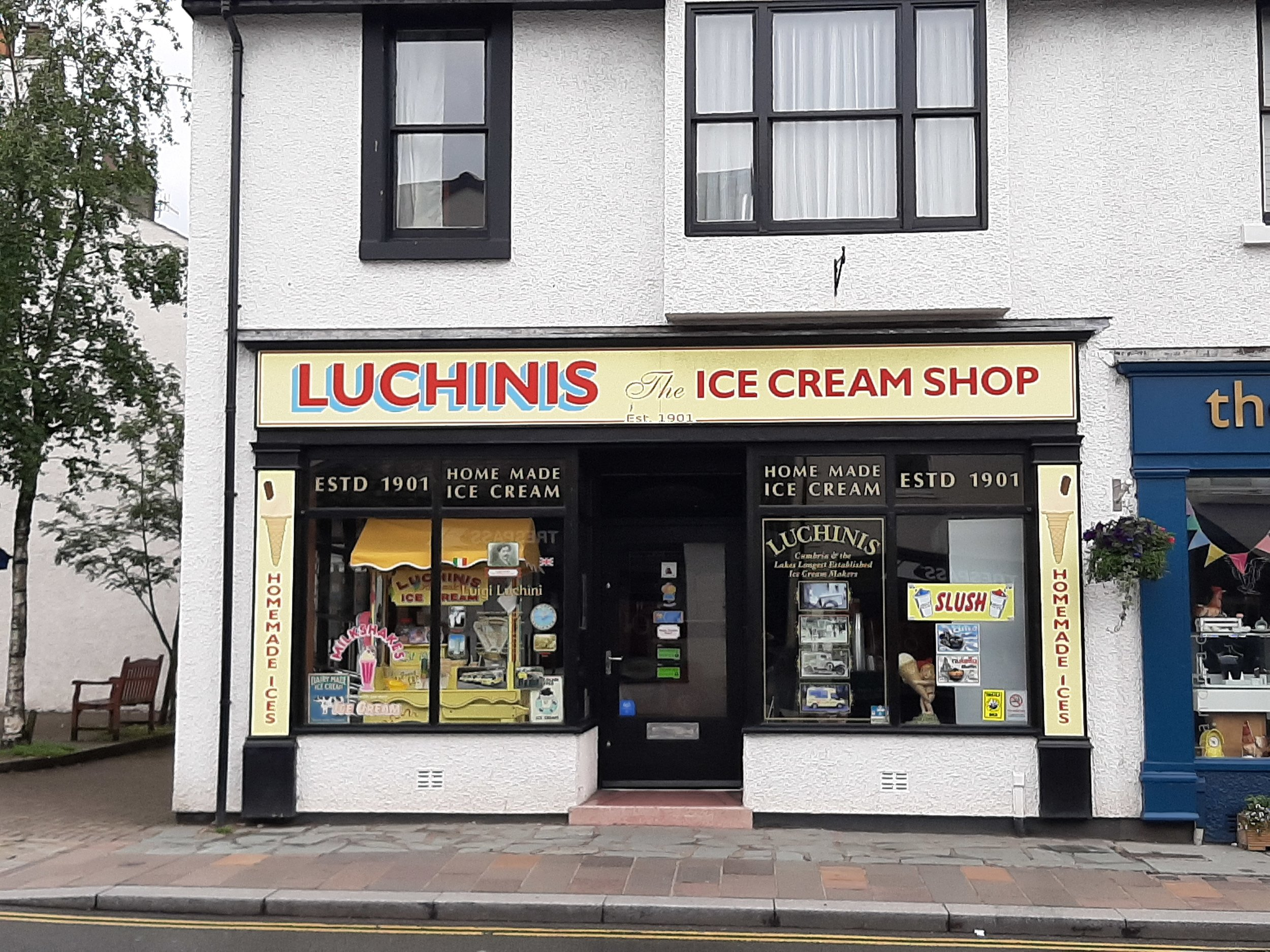 Luchini   Luchini's is the oldest ice-cream manufacturer in Cumbria and the Lake District. We have a traditional Italian ice-cream shop which offers many flavours. You are welcome to enjoy our sundaes, hot waffles, delicious milkshakes, slush drinks, tea, coffee and much more. Now in its fourth generation, we are very proud to be serving ice-cream using grandfather Luigi's original recipe and locally sourced quality ingredients.  1 Tithebarn Street, Keswick, CA12 5ED  017687 73668