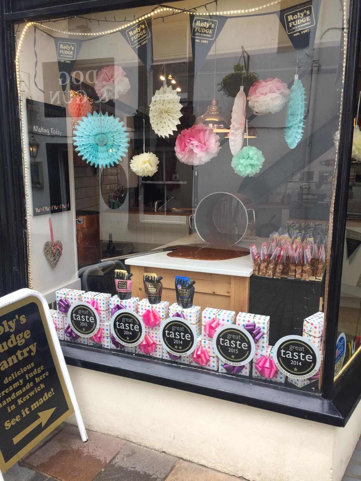 Roly's Fudge Keswick   Come and see fresh fudge being made daily in our wonderful copper pans right in front of your eyes. You'll be blown away by the enticing smell and once you've tried one of our samples, you will be hooked! We have lots of lovely gift wrapped fudge as well as loose fudge to choose from in more flavours than you can manage to eat.  Lake Road, Keswick, CA12 5BS