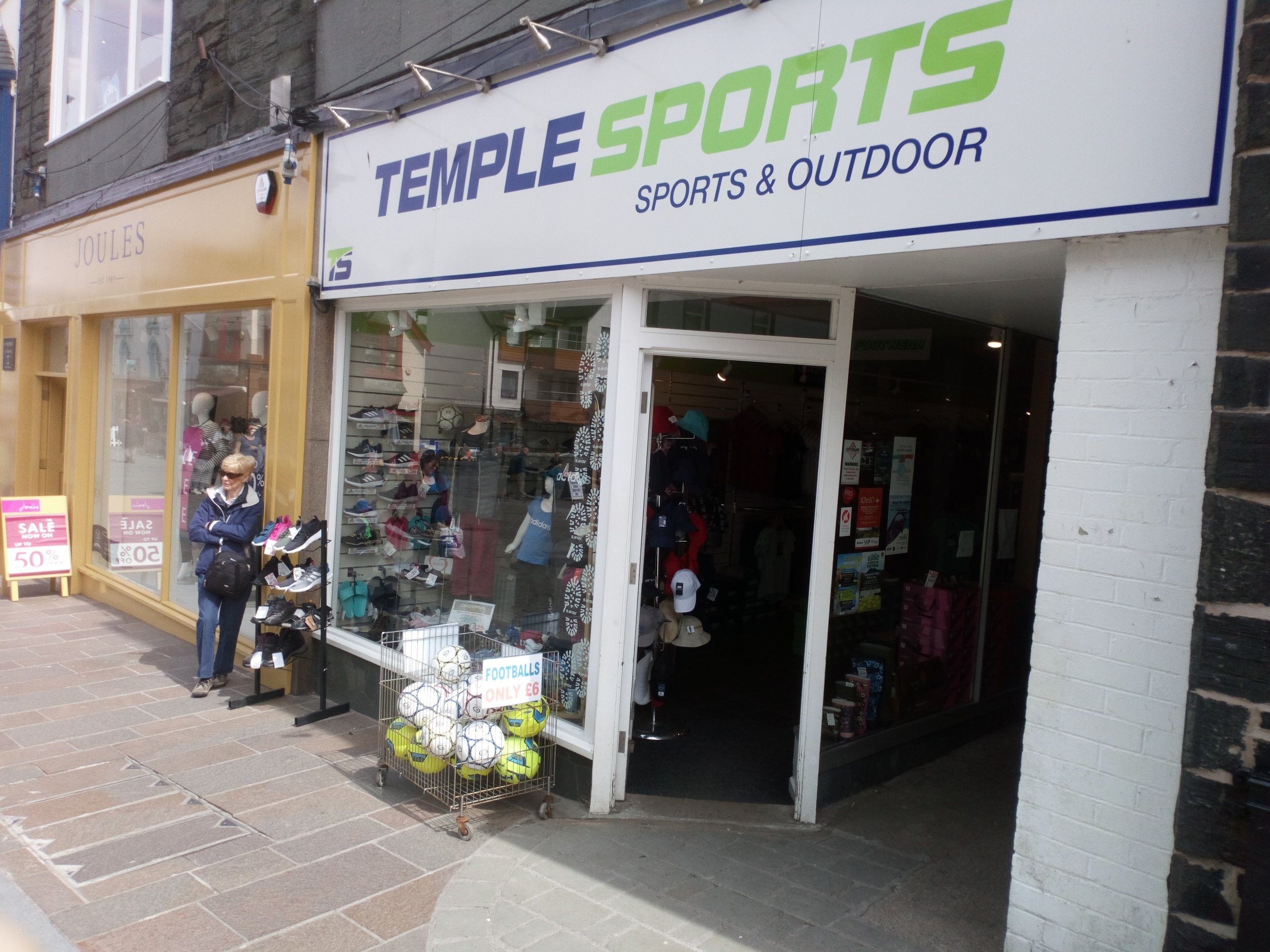 Temple Sports   Temple Sports is an independently owned family business providing sports and outdoor wear and equipment. Stocking ranges from Adidas, Nike, Hi-Tec, Skechers and Crocs footwear as well as Regatta and Craghopper clothing and Speedo swimwear. Specialising in sports equipment and accessories for all ages and abilities we are available to advise you on the best equipment for your needs. We pride ourselves on our friendly service and excellent product knowledge.  26 Main Street, Keswick, CA12 5JD  017687 72569