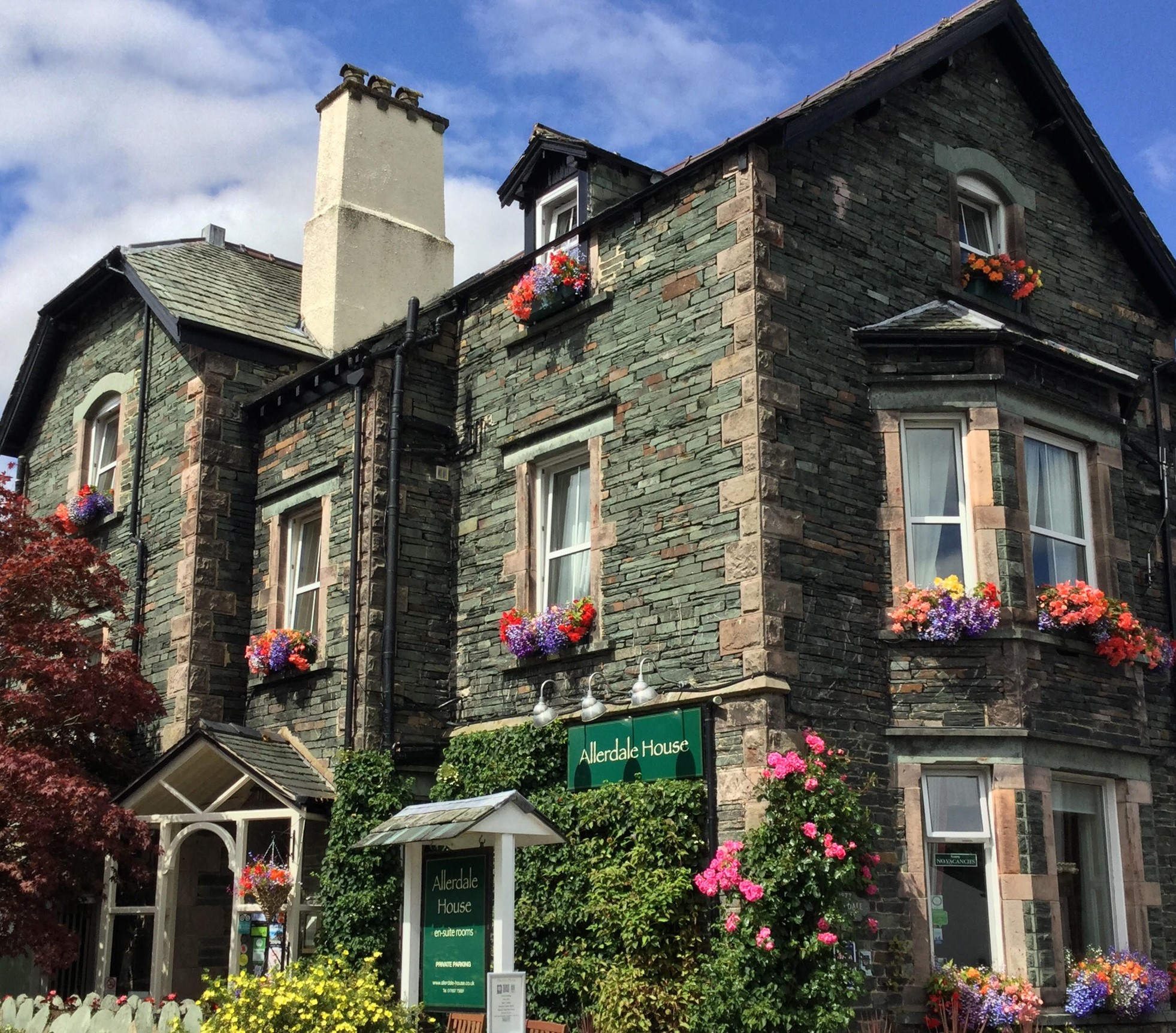 Allerdale House    Allerdale House is an award winning guest house offering high quality bed and breakfast accommodation in Keswick with private car parking for all our guests and free wi-fi.  Allerdale House is an interesting and impressive Lakeland stone building built around 1877 for a local dignitary.  It offers full en-suite accommodation with all the facilities associated with a small personally run guest house and is one of the few guest houses in Keswick owned and run by a local couple, Paul and Barbara, both born and raised in Keswick. They look forward to welcoming you to Allerdale House.  1 Eskin Street, Keswick, CA12 4DH  017687 73891