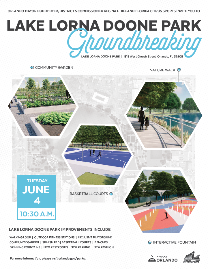 Recommended park facilities nearby:  Lake Lawne Park   1320 Lawne Blvd .  2.9 miles from Lake Lorna Doone Park  Hours: Summer 8:00 a.m. – 8:00 p.m.; Winter 8:00 a.m. – 6:00 p.m.  * Basketball  * Fishing  * Playground  * Pavilion  * Picnic Table     Barnett Barnett Park  4801 W Colonial Dr.  3.4 miles from Lake Lorna Doone Park  Hours: Monday-Saturday 8:00 a.m. – 8:00 p.m. Sunday 1:00 p.m. – 8:00 p.m.  Splashpad Hours: 9 a.m. - 7 p.m. (March – October) 10 a.m. - 5 p.m. (November – February)  * Pavilion  * Playground  * Picnic tables  * Walking trail  * Dog run  * Softball  * Basketball  * Disc Golf  * Cricket Pitch  * Golf Practice Facility  * Skate Park  * Soccer Field  * Tennis Court  * Rec Center  * Volleyball  * Splash Pad  * Fishing dock  * Boat ramp  * Restrooms  Roosevelt Martin Park   210 Bayshore Dr .  1.9 miles from Lake Lorna Doone Park  Hours: Summer 8:00 a.m. – 8:00 p.m.; Winter 8:00 a.m. – 6:00 p.m.  * Baseball/Softball  * Basketball  * Fishing  * Pavilion  * Playground  * Picnic tables  Gilbert McQueen Park   650 W. Lake Mann Dr .  1.8 miles from Lake Lorna Doone Park  Hours: Sunrise: 6:00 a.m. – 11:00 p.m.  * Pavilion  * Playground  * Picnic tables  * Baseball  * Basketball  * Fishing dock  * Boat ramp  * Restrooms  George A. Barker Park   2000 Monte Carlo Trail   1.2 miles from Lake Lorna Doone Park  Hours 6:00 a.m. – 9:00 p.m.  * Pavilion  * Playground  * Picnic tables & grills  * Volleyball  * Basketball  * Fishing dock  * Boat ramp  * Restrooms  Clear Lake Park  2301 29th St  2.8 miles from Lake Lorna Doone Park  Hours: 5:00 a.m. - Sunset  * Pavilion  * Playground  * Picnic tables & grills  * Fishing dock  Z.L. Riley Park   747 S. Parramore Ave .  1.2 miles from Lake Lorna Doone Park  Hours: 9 a.m. – ½ hour prior to sunset  * Pavilion  * Playground  * Picnic tables & grills  Sylvester Hankins Park   1340 Lake Park Court   2.4 miles from Lake Lorna Doone  Hours: 6 a.m. – 11:00 p.m.  *Grill  *Playground  *Softball Field  *Basketball Court  *Pavilion