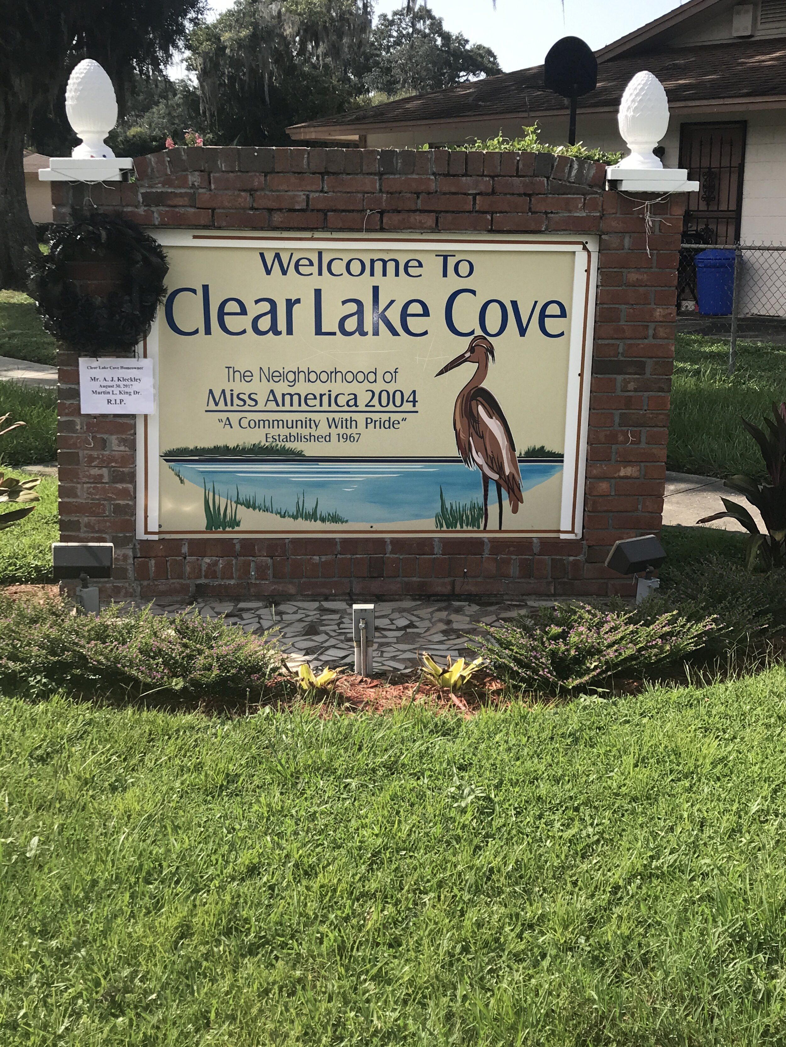 CLEAR LAKE COVE   Named for the largest lake in West Lakes. Established in 1968 with streets named for the assassinated Martin Luther King Jr. and his family members. A single access point for entry and one of the first neighborhoods in Orlando with  utilities installed underground. Most houses built to architect specifications between 1969 and 1975. Home of Orlando's only Miss America 2004.
