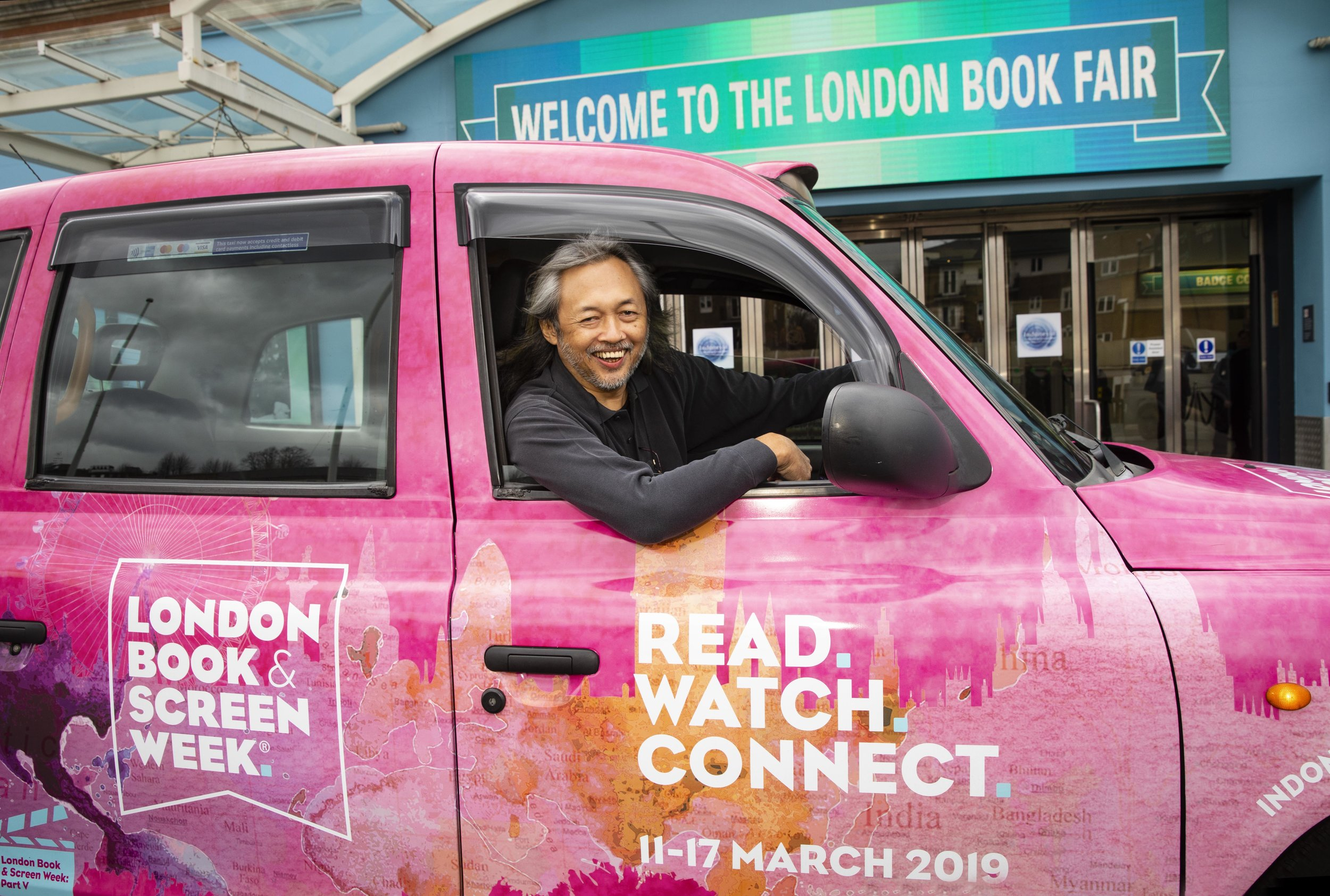 Seno Gumira Ajidarma was one of the featured writers at the Author of the Day program of this year's London Book Fair, which put some of the most successful authors into the spotlight to celebrate their work. (Photo courtesy of the London Book Fair)