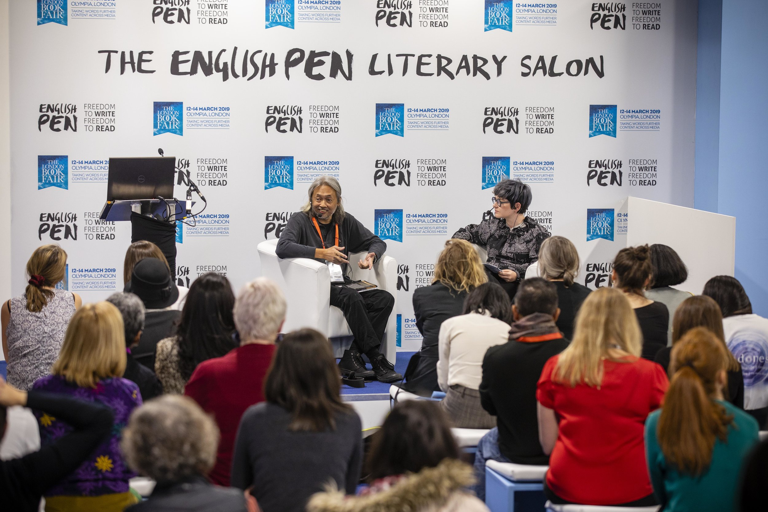 Seno Gumira Aajidarma, Author of the Day, in conversation with Sian Cain at the English PEN Salon 1.jpg