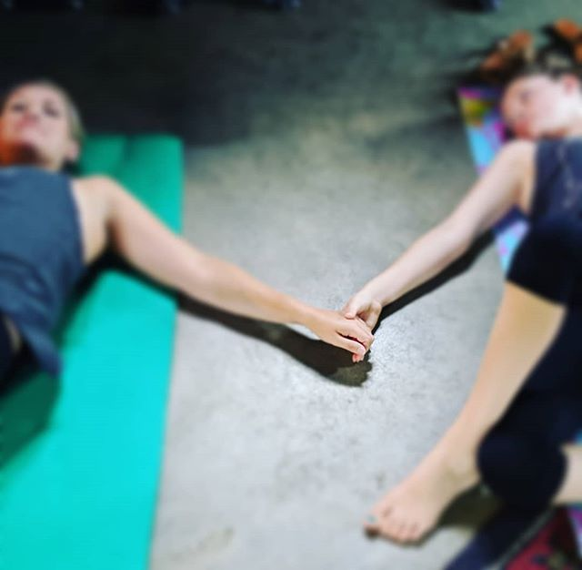 Beautiful mom and daughter moment captured at yoga this morning. #yoga #grb #familyfriendly #yogaforall