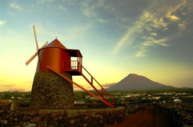 A traditional windmill in Madalena, Azores