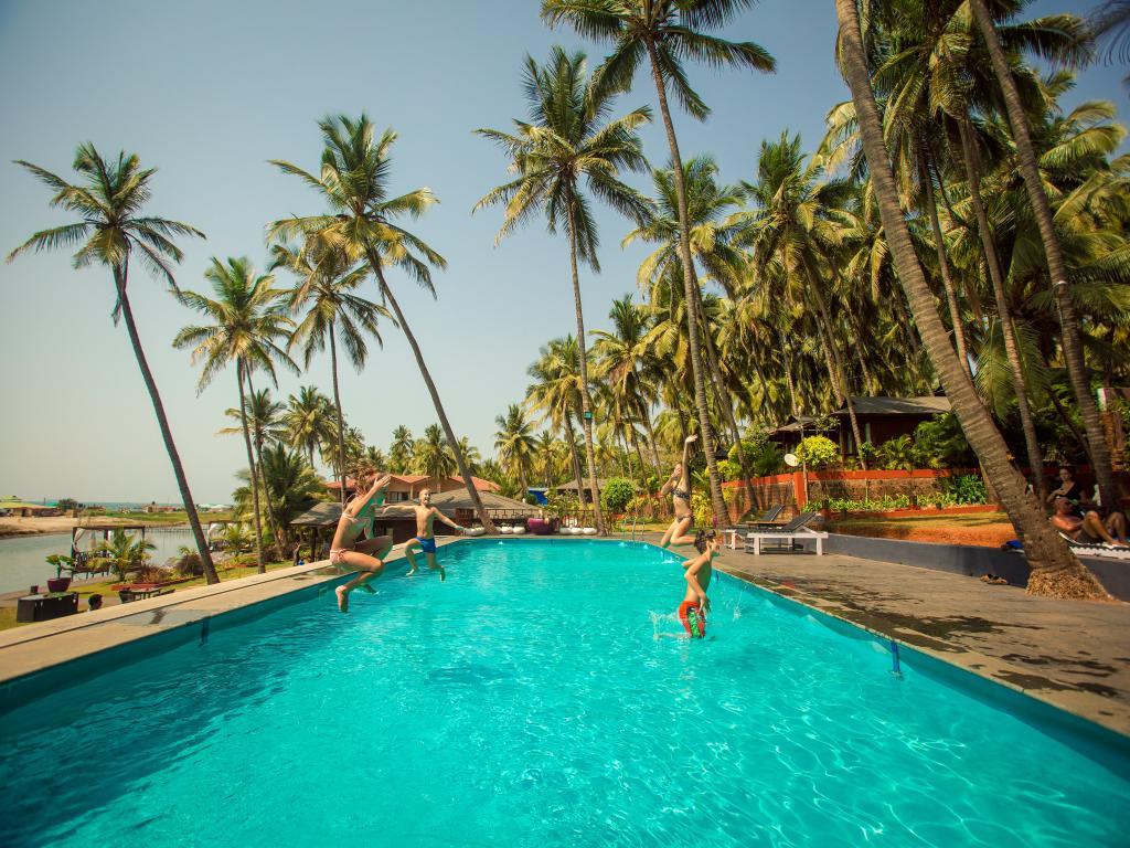 The pool at Riva Beach Resort, Goa, India