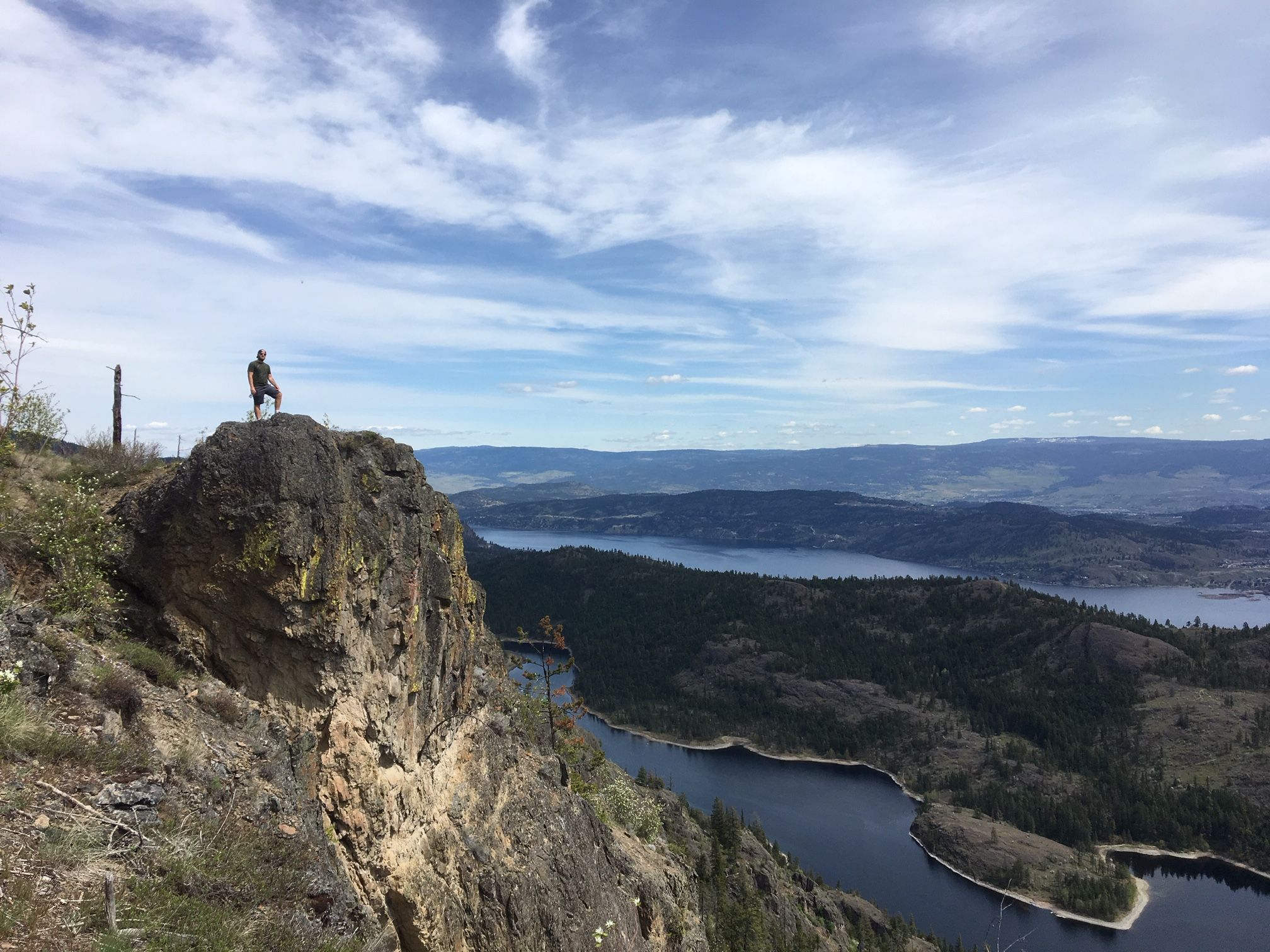 Top of McDougall Rim Trail with Okanagan Lake and Rose Valley Lake.