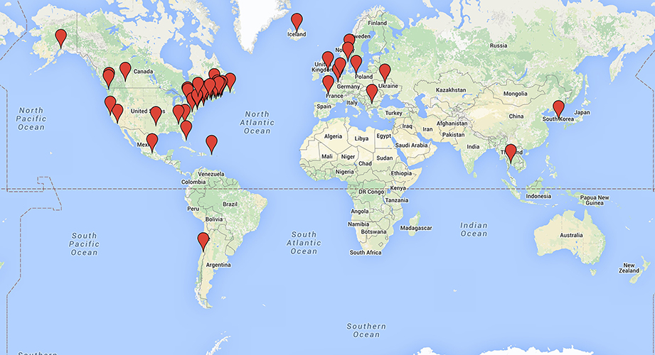 Locations of BioNovations systems currently installed around the world.