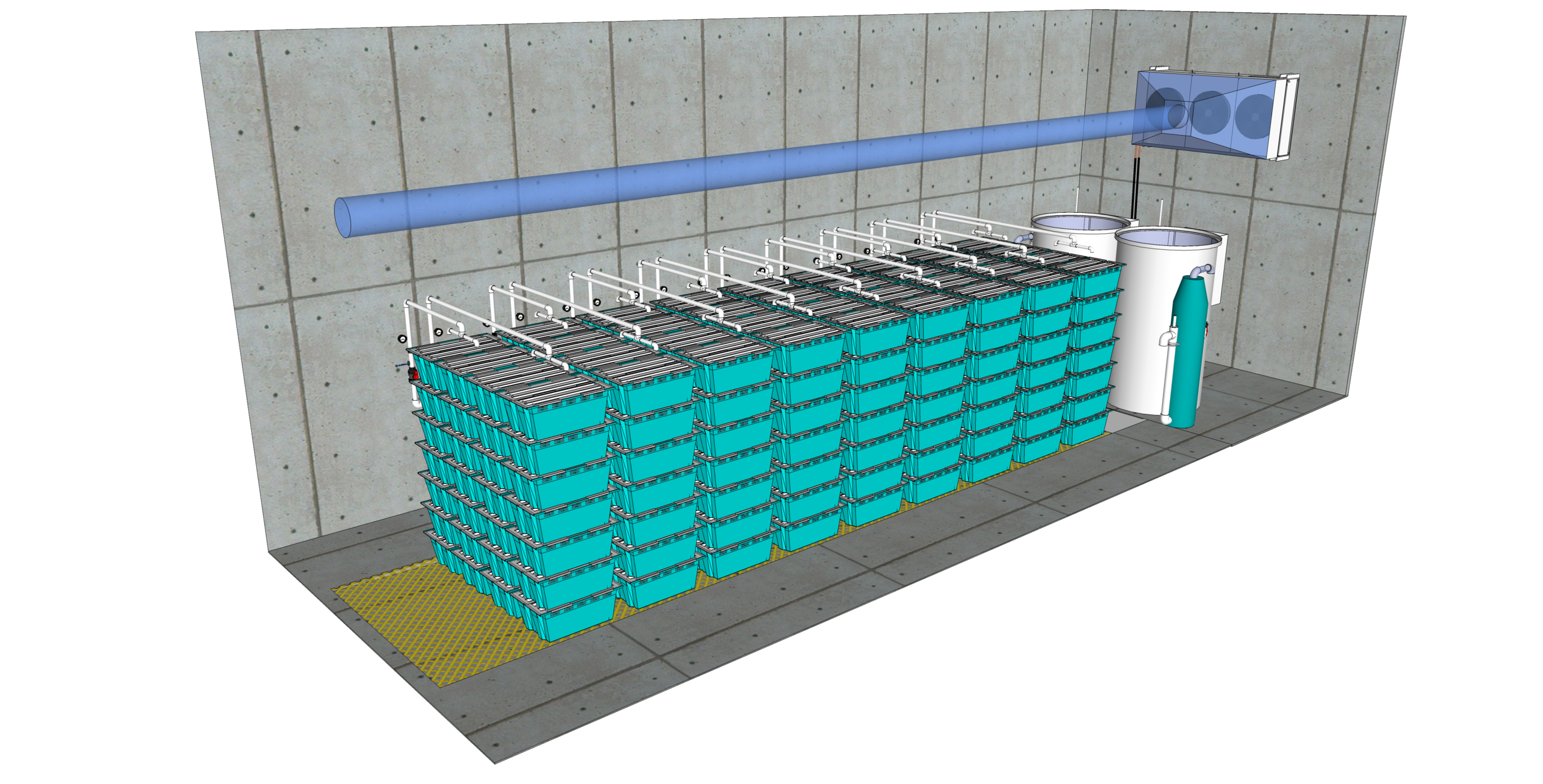25,000 lb Traystor Crate Live Seafood Holding System