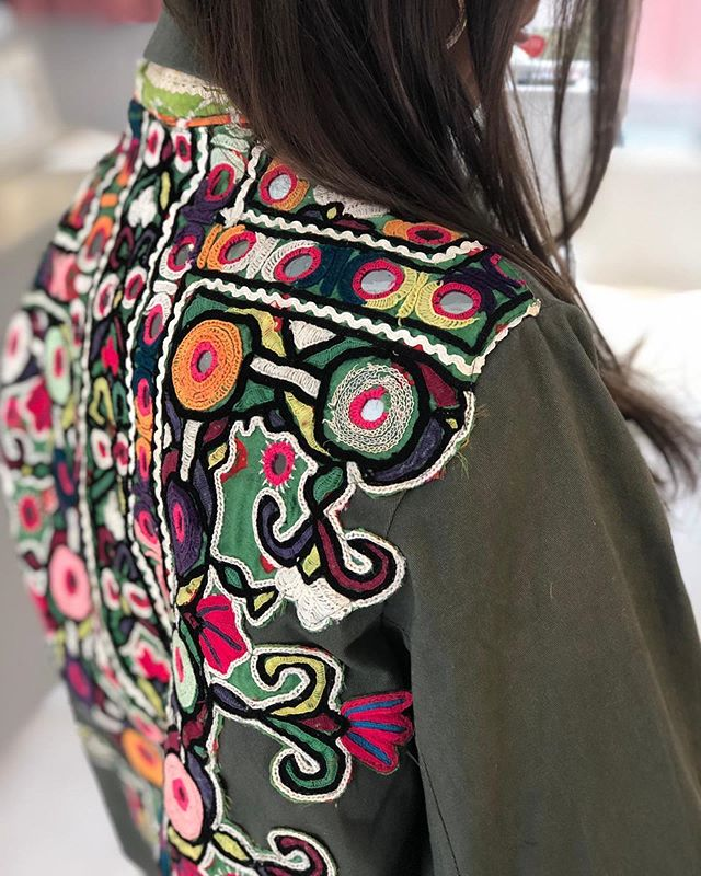 So excited for our new limited edition range of embroidered jackets. Our first joint label for @maraislondon with @pom_london will be exclusively available in store @ Bellevue road SW17  from next week ! #embellished #unique #handmadewithlove #vintage