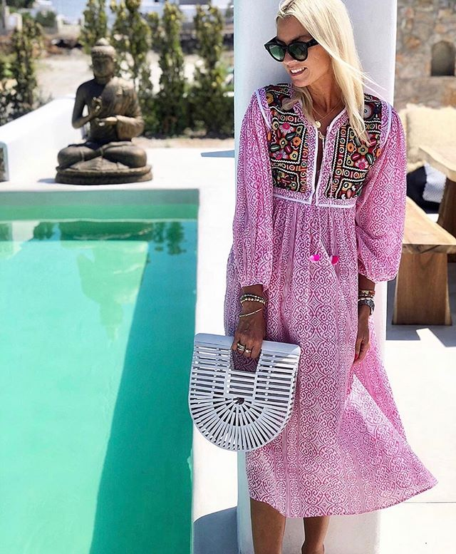 The gorgeous @annamavridis wearing our Jaipur midi in pink 💕 #islandgirl #bohostyle