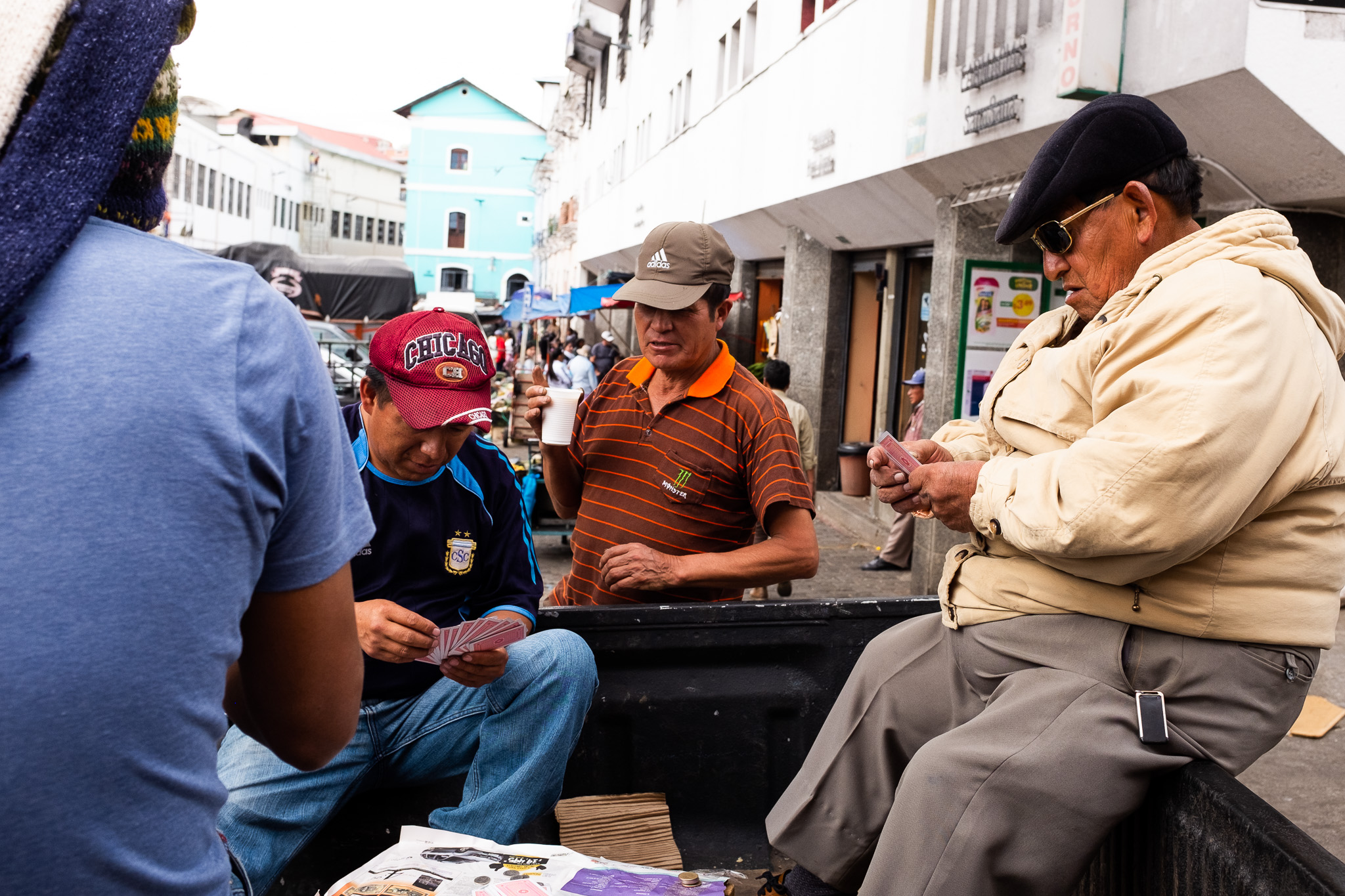 The older generation are constantly playing cards.