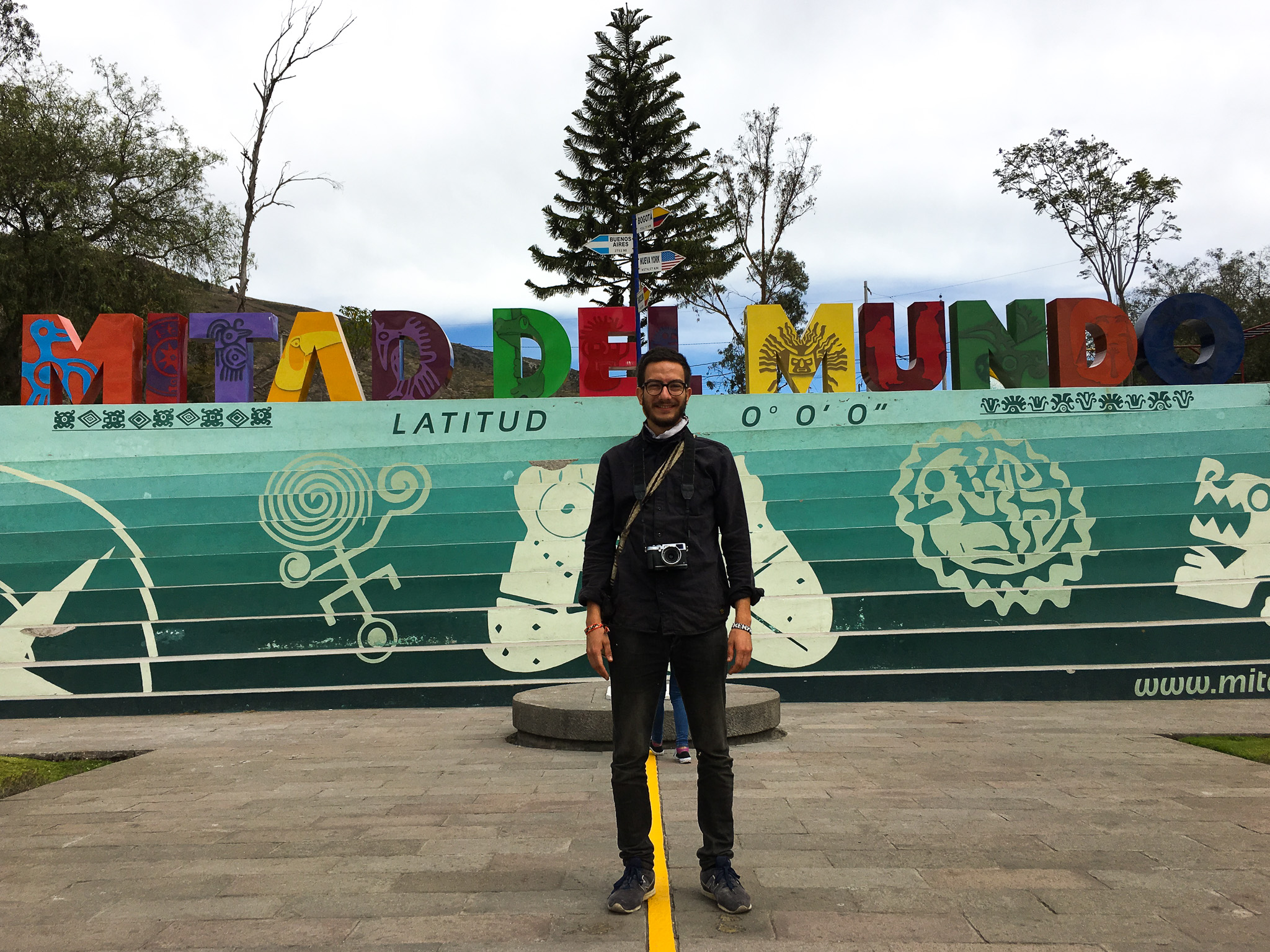 Standing on the equator, 40km outside of Quito. Also known as Mitad del Mundo.