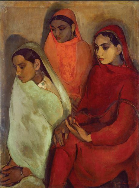 """Amrita Sher-Gil, """"Group of Three Girls"""", 1935  Image Courtesy NGMA, New Delhi, india"""
