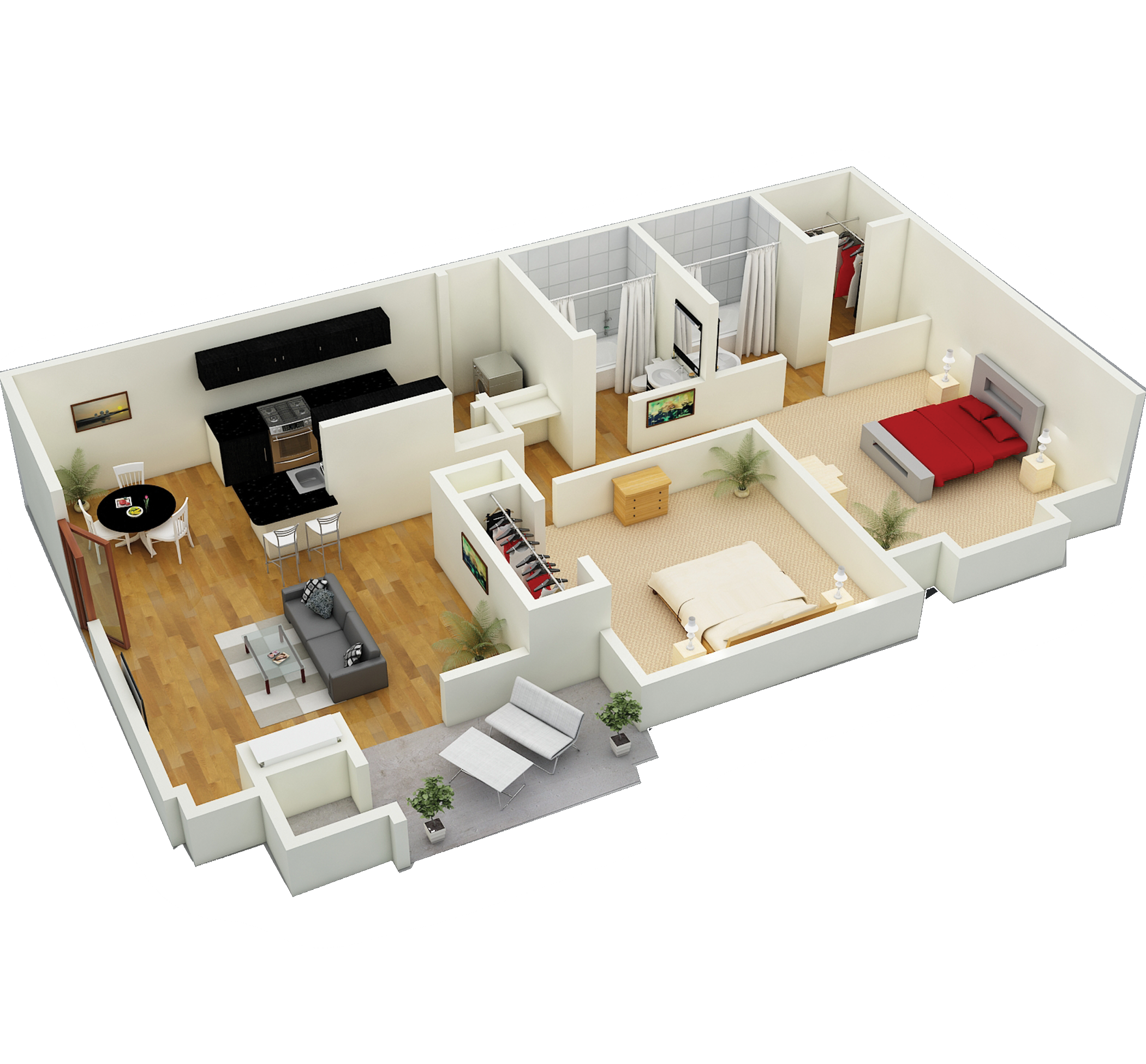 Sage - 2 bed / 2 bath / 1150 sq. ft.With a luxurious master bedroom arrangement including private bath and walk-in closet.
