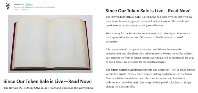 This fake blog article stated the token sale was live a day before the official launch date.