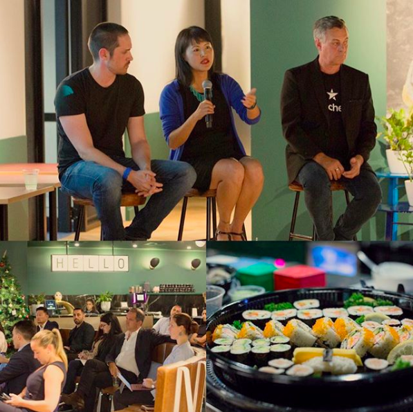 Lucy on the WeWork panel talking about Blockchain can affect and improve the marketing and advertising industries, November 2018