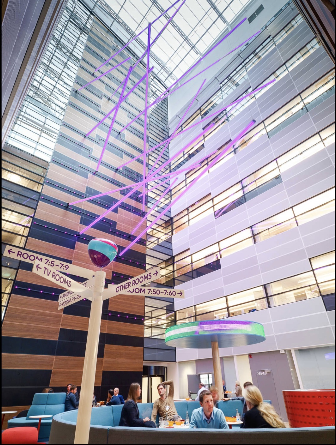 ..and a light show with moving, multi coloured lights over heads, which can be enjoyed from all floors…    Light installation by ÅF, Photo by Per Ranung