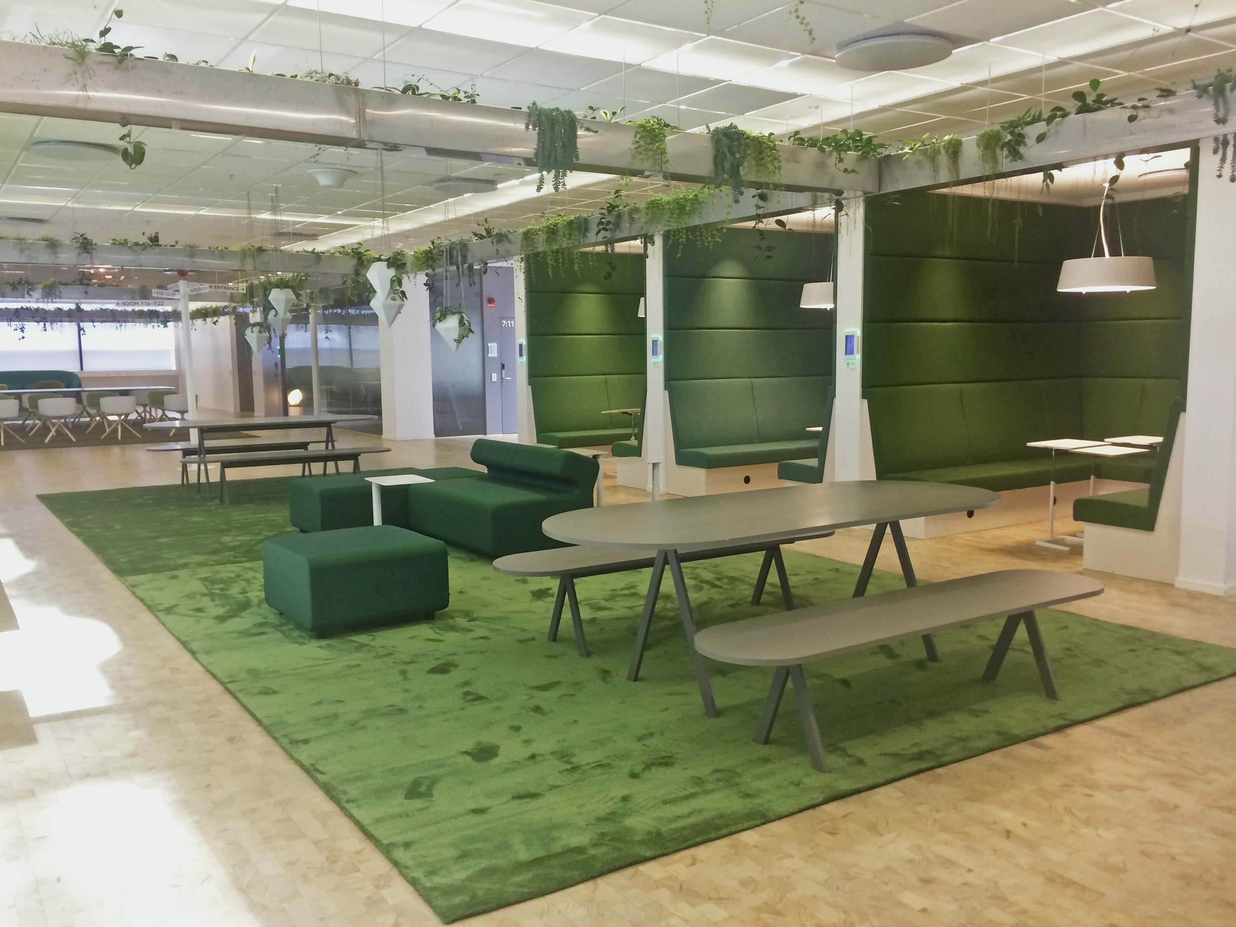 A 50m long seating area, with planters suspended from the ceiling, makes up the first part of the fourth themed area ('In nature'). This is a place for peace and quiet.     Greenery by Green Fortune