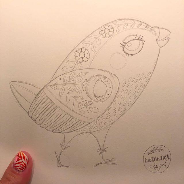 Yeah! Half-way through #the100dayproject - Day 50!!! 😄 I didn't have time to make color rendering today. So, here is my sketch of another cute folk birdie. Twit-twit! . . . @lindsayjeanthomson  @VictoriaJohnsonDesign #birdsbutterfliesandblooms  #putabirdonit  #artchallenge #paintingchallenge #instagramchallenge #paintanyway  #dailysketch #lovetopaint  #guachepainting  #folkillustration  #greetingcarddesign  #makeitindesign #makeartthatsells #MATSHomeDecor #homedecor #Nellik #patternobserver #artlicensing #ArtLicensingShow #artforlicensing #thecolorgang #surfacedesign #ArtLicensing #artforproducts #artistsofinstagram #spdcommunity #sketch  #greetingcarddesign #folkart