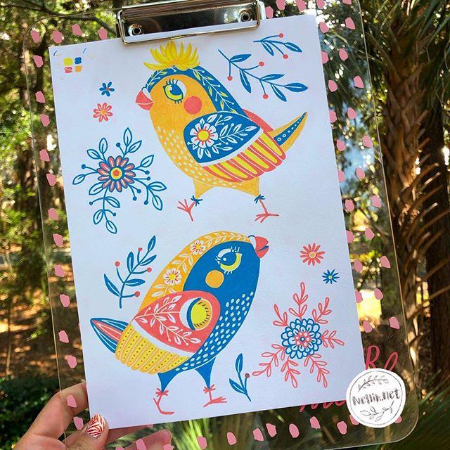 I'm still on vacation coloring my birdies. Posca Pens.  Day 53 of #the100dayproject . . . @lindsayjeanthomson  @VictoriaJohnsonDesign #birdsbutterfliesandblooms  #poscapens  #artchallenge #paintingchallenge #instagramchallenge #paintanyway  #dailysketch #lovetopaint  #birdlillustration #greetingcarddesign  #makeitindesign #makeartthatsells #MATSHomeDecor #homedecor #Nellik #patternobserver #artlicensing #ArtLicensingShow #artforlicensing #thecolorgang #surfacedesign #ArtLicensing #artforproducts #artistsofinstagram #putabirdonit  #spdcommunity #greetingcarddesign #folkart #birdy