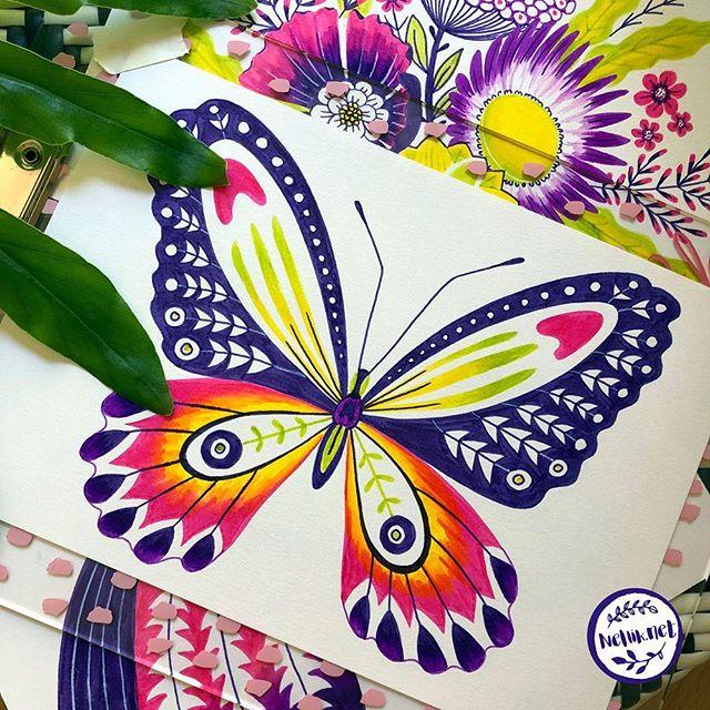 Very bright butterfly 🦋🦋🦋 58 of #the100dayproject . . . @lindsayjeanthomson  @VictoriaJohnsonDesign #birdsbutterfliesandblooms  #paintedbutterfly #artchallenge #paintingchallenge #instagramchallenge #paintanyway  #dailysketch #lovetopaint  #markerdrawing  #marketart  #greetingcarddesign  #makeitindesign #makeartthatsells #MATSHomeDecor #homedecor #Nellik #patternobserver #artlicensing #ArtLicensingShow #artforlicensing #thecolorgang #surfacedesign #ArtLicensing #artforproducts #artistsofinstagram #magicalbutterfly #spdcommunity #greetingcarddesign #folkart #markerart #butterflies🦋