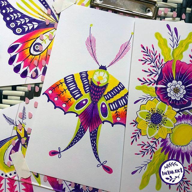 Here comes another odd colorful creature! 59 of #the100dayproject . . . @lindsayjeanthomson  @VictoriaJohnsonDesign #birdsbutterfliesandblooms  #paintedbutterfly #artchallenge #paintingchallenge #instagramchallenge #paintanyway  #dailysketch #lovetopaint  #markerdrawing  #marketart  #greetingcarddesign  #makeitindesign #makeartthatsells #MATSHomeDecor #homedecor #Nellik #patternobserver #artlicensing #ArtLicensingShow #artforlicensing #thecolorgang #surfacedesign #ArtLicensing #artforproducts #artistsofinstagram #magicalbutterfly #spdcommunity #greetingcarddesign #folkart #markerart #butterflies🦋
