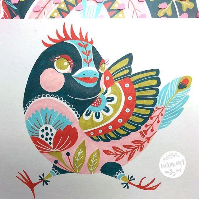 New birdy for Day 64 of #the100dayproject . . . @lindsayjeanthomson  @VictoriaJohnsonDesign #birdsbutterfliesandblooms  #paintedbirds #artchallenge #paintingchallenge #instagramchallenge #paintanyway  #dailysketch #lovetopaint  #guachepainting #greetingcarddesign  #makeitindesign #makeartthatsells #MATSHomeDecor #homedecor #Nellik #patternobserver #artlicensing #ArtLicensingShow #artforlicensing #thecolorgang #surfacedesign #ArtLicensing #artforproducts #artistsofinstagram #spdcommunity #putabirdonit  #greetingcarddesign #folkart