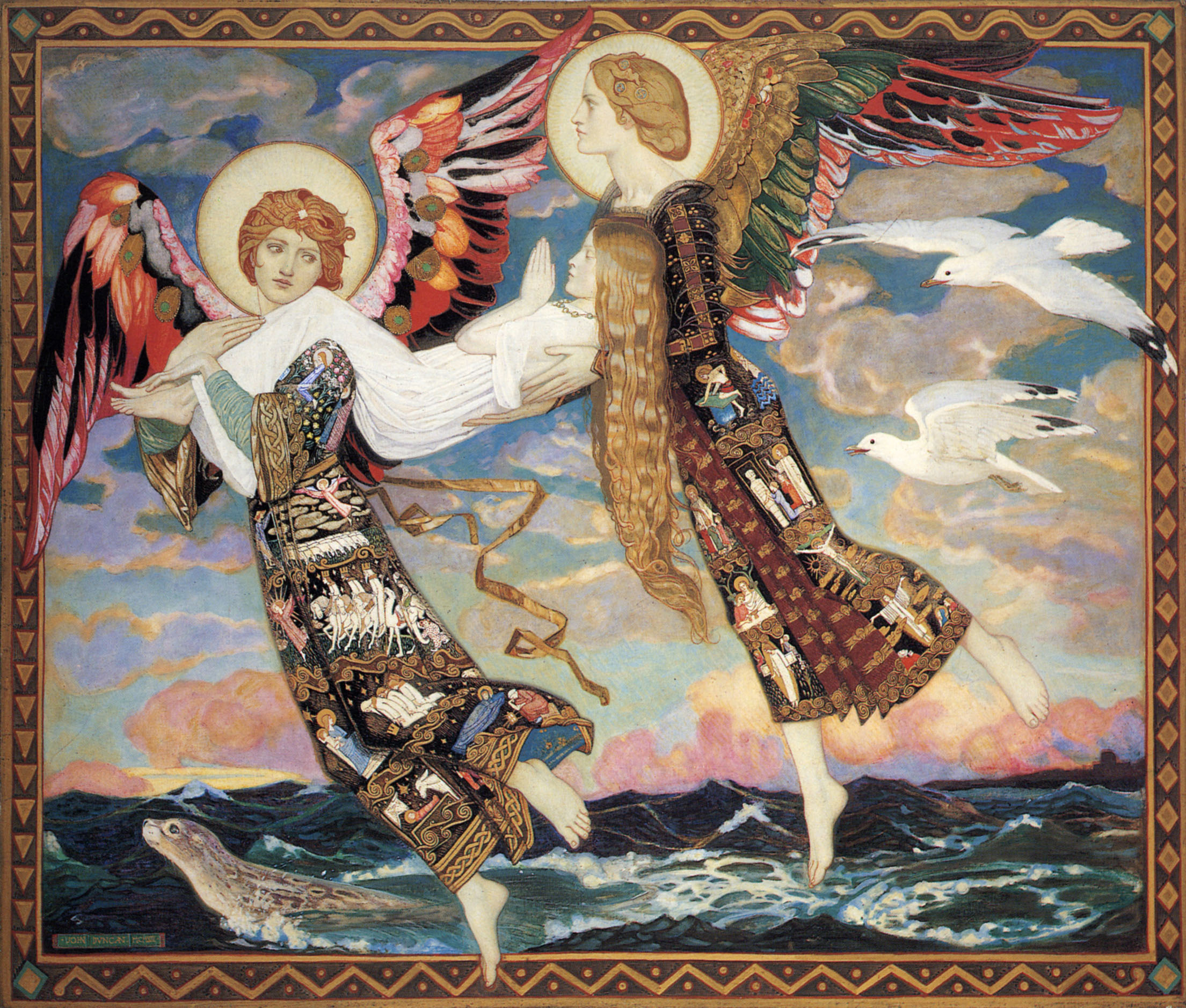 St. Brid (i.e. Brigid) Carried by Angels  John Duncan, 1913