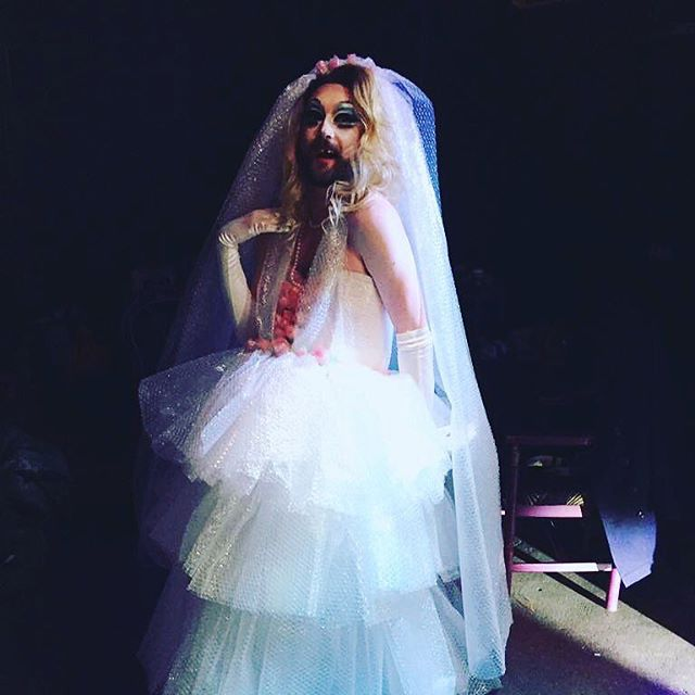 It's #LookWeek at @her_upstairs tonight for #notanotherdragcompetition season 5! Here's a little flash back to my Look Week for Season 3. The challenge was to create a look out of unconventional materials! So I created a full wedding gown made entirely from bubble wrap. And no, that varmint didn't pop the question 😒 come along! Support your local queens!
