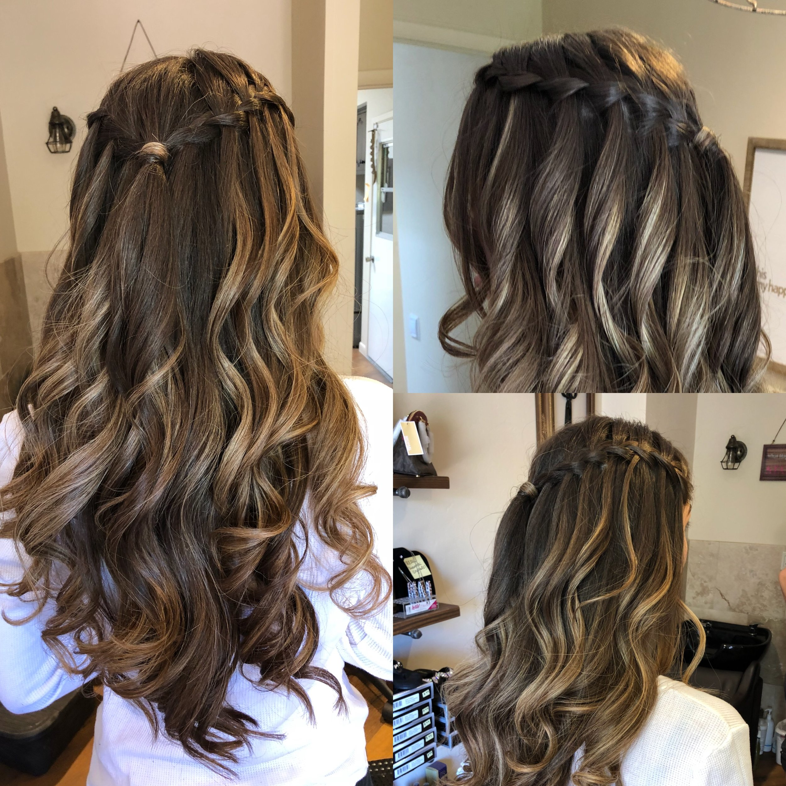 Prom Curls with Waterfall Braids