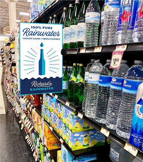Richard's Rainwater_Shelf Talker_In store signage
