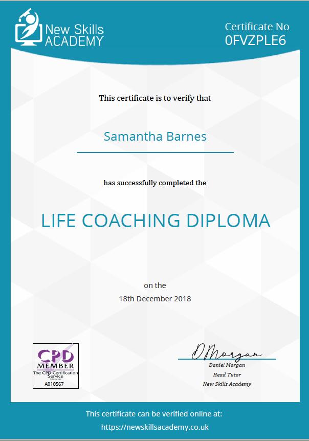 Samantha Barnes Artist Life Coaching Diploma December 2018