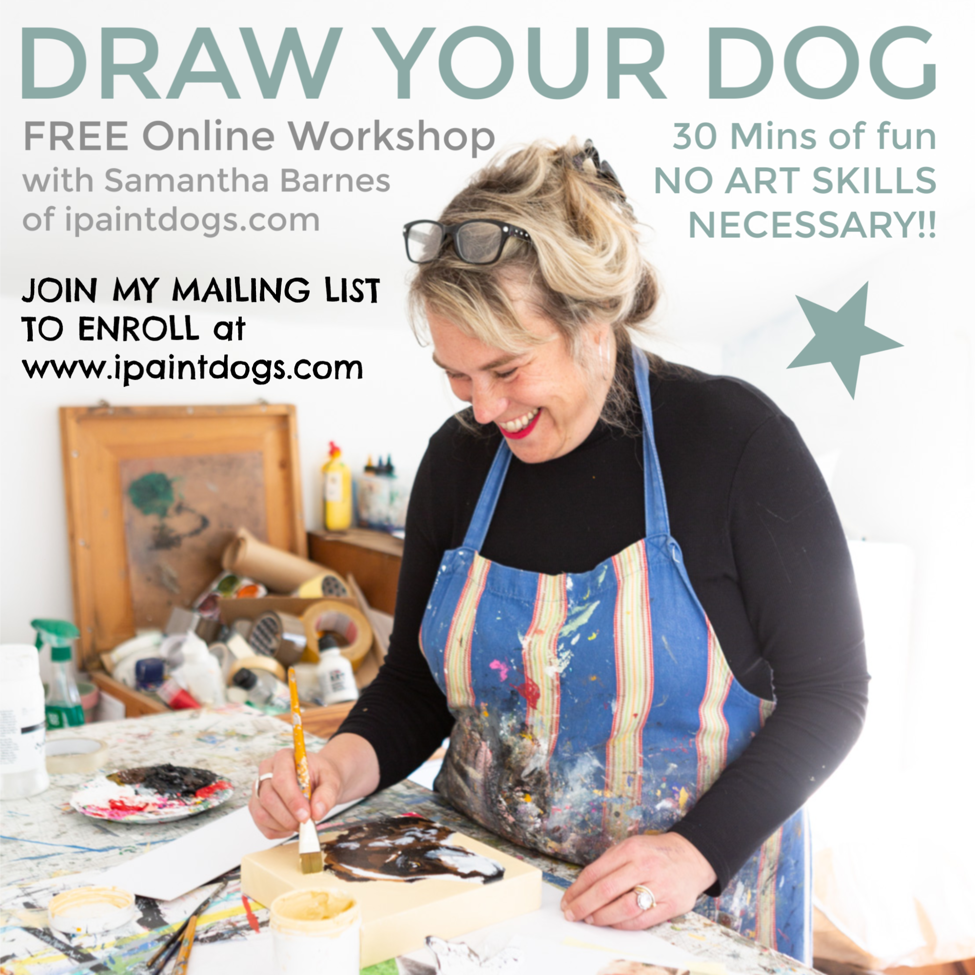 Draw Your Dog, free online workshop by Samantha Barnes ipaintdogs.com