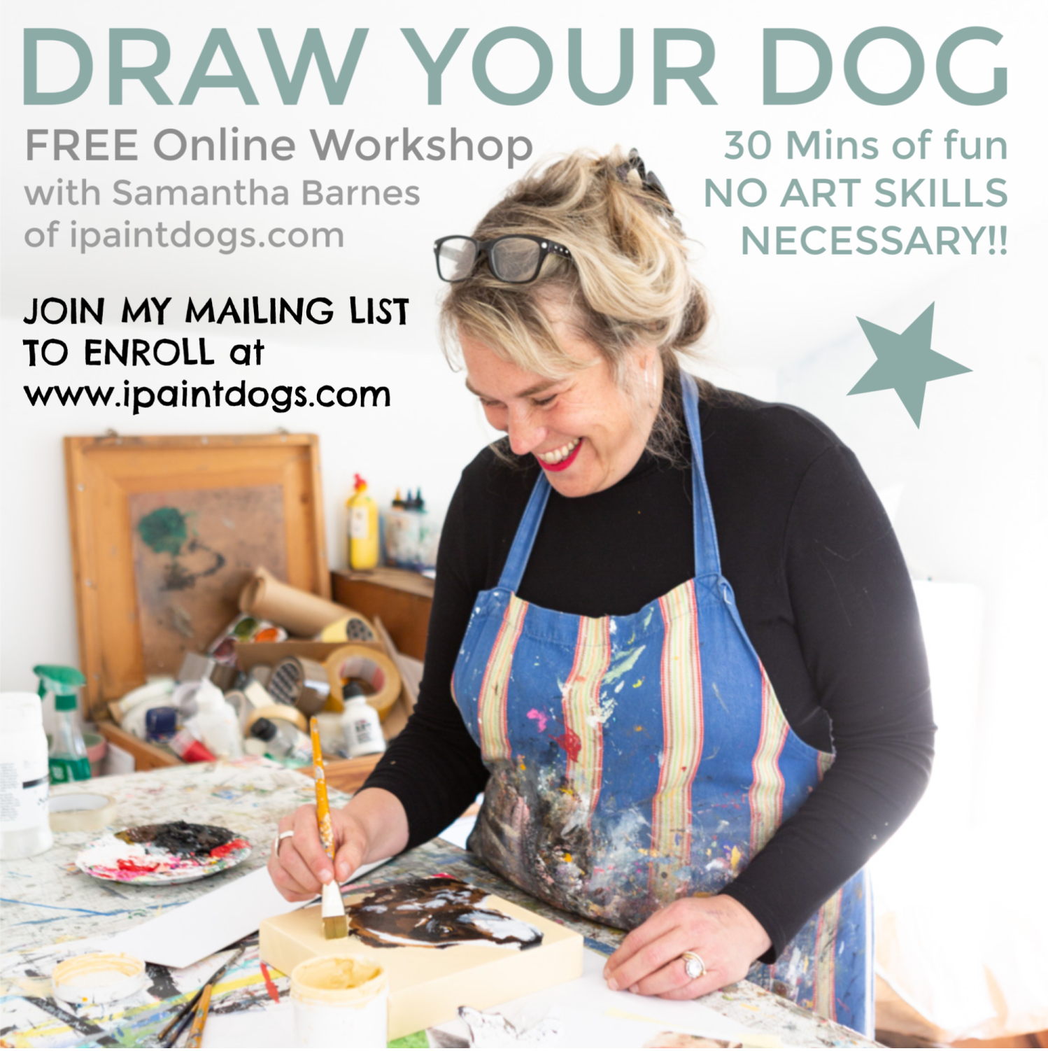 'Draw your Dog' online workshop with Samantha Barnes, ipaintdogs.com