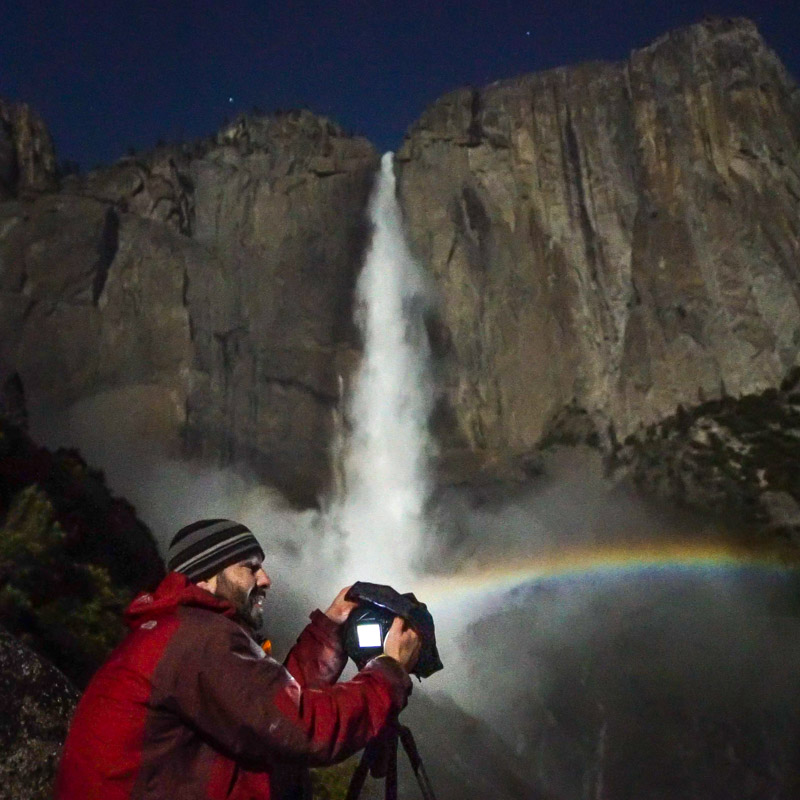 Brian Hawkins filming moonbows during the epic springtime conditions of 2017
