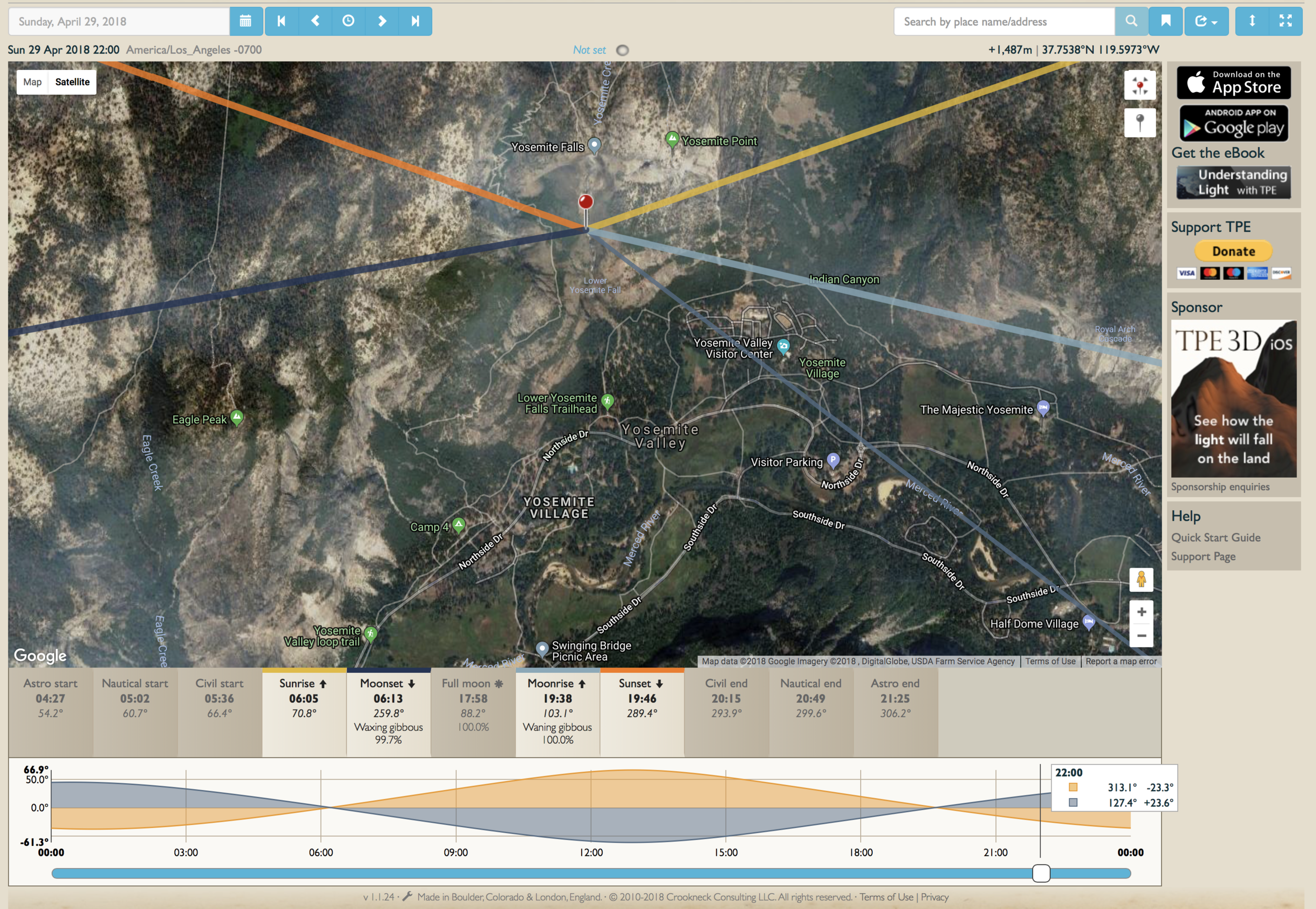 TPE screenshot showing full moon angles for Yosemite Falls