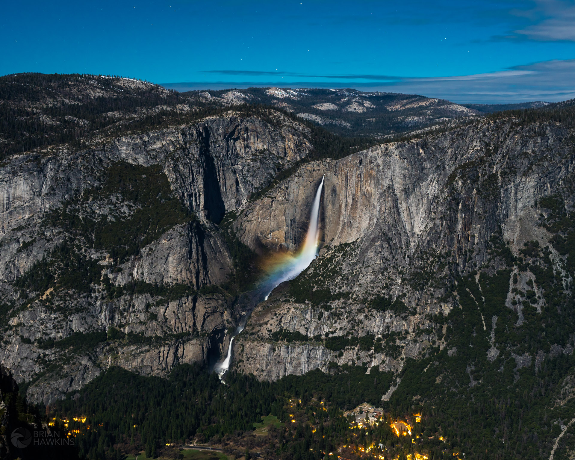 Moonbow in Yosemite Falls as seen from Glacier Point just before midnight April 28, 2018