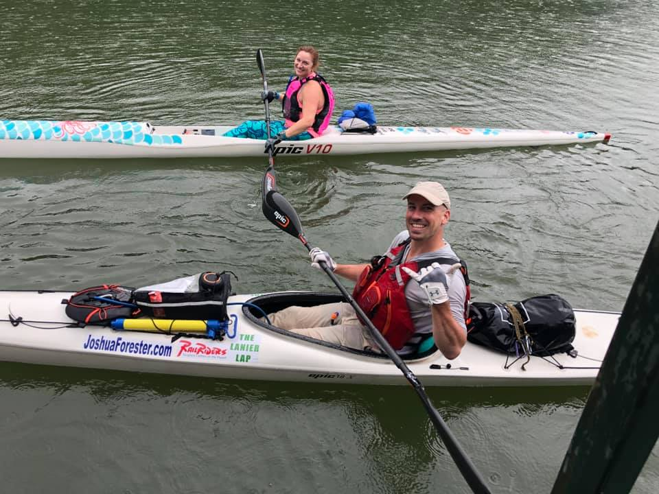 """Heather Frogge joined me in her """"Mermaid Surfski"""""""
