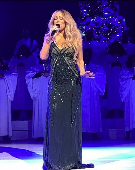 Mariah Carey performing holiday classics at her latest Christmas concert