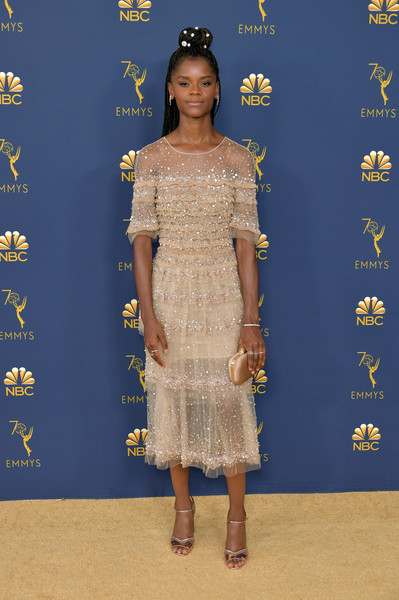 Letitia Wright attends the 70th Emmy Awards at Microsoft Theater.
