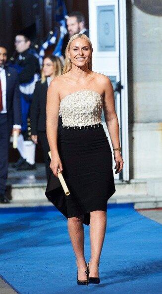 Lindsey Vonn receives the Princess of Asturias Award for the Sports 2019 from Princess Leonor of Spain during the Princesa de Asturias Awards 2019 ceremony.