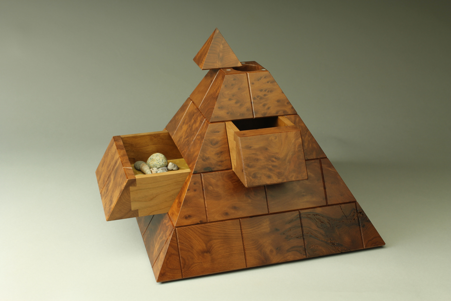 burl cherry pyramid box custom handmade wooden heirloom