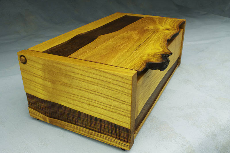 walnut and mulberry live edge custom treasure box