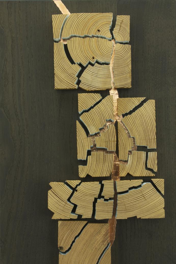 copper tape wooden sculpture kansas city parkville woman maker