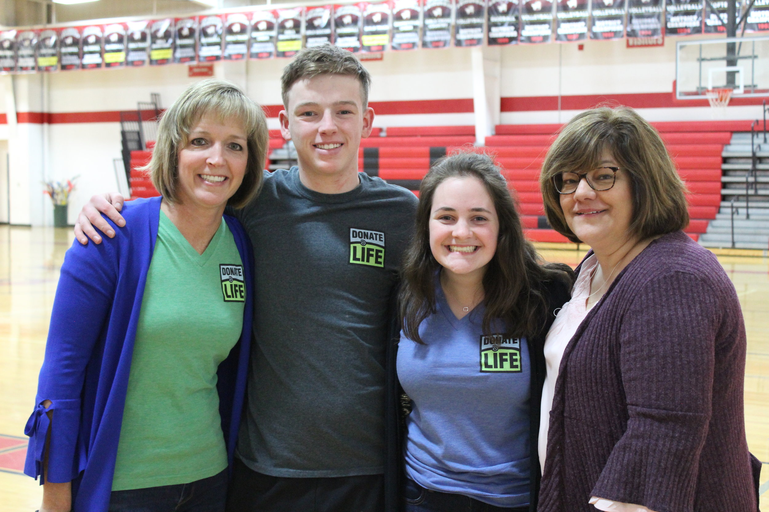 Tommy Schomaker with mom Colleen and Jenna Ozerities with mom Gretchen