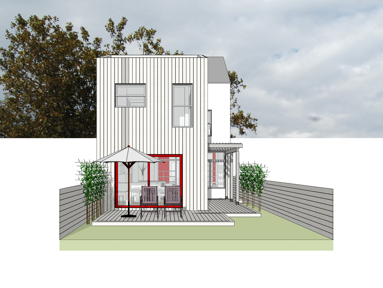Williamsburg Townhouse Renovation-Rear Yard Elevation